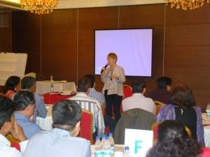 Sara presenting Leadership for a Thinking Environment™ to a group of Johnson & Johnson managers in Mumbai, India.